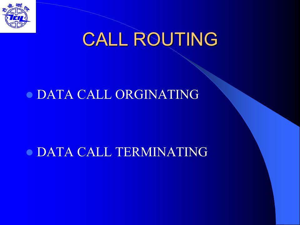 CALL ROUTING DATA CALL ORGINATING DATA CALL TERMINATING