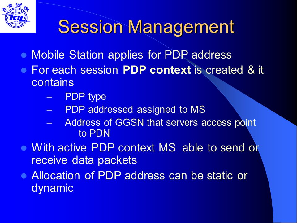 Session Management Mobile Station applies for PDP address