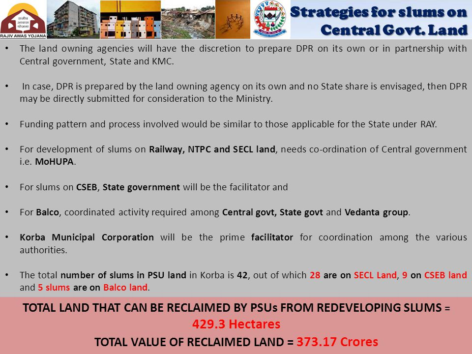 TOTAL VALUE OF RECLAIMED LAND = 373.17 Crores