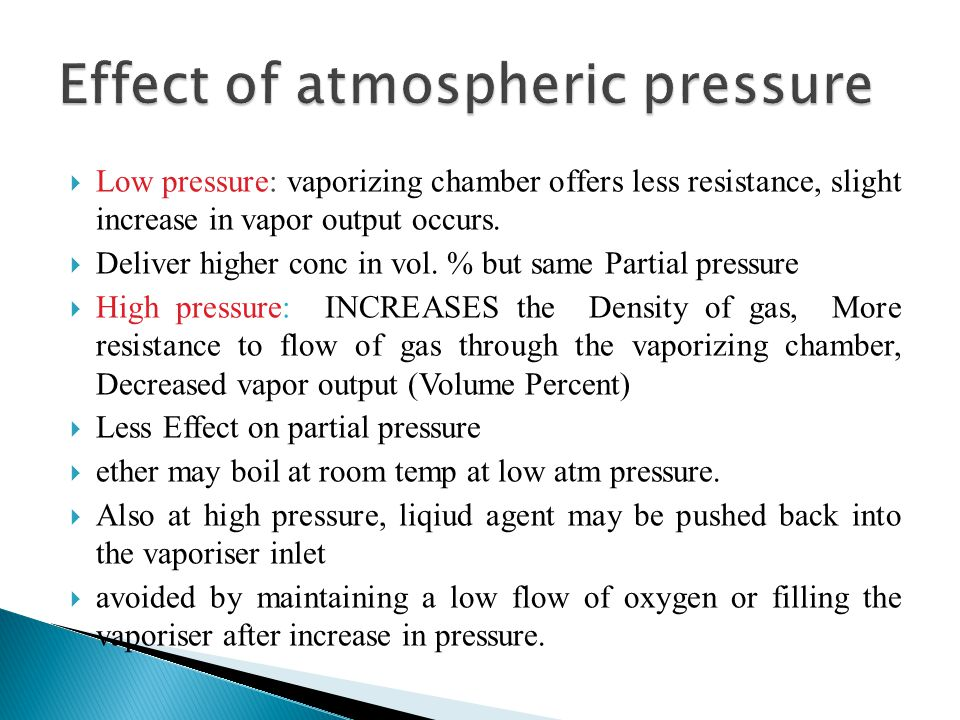 Effect of atmospheric pressure