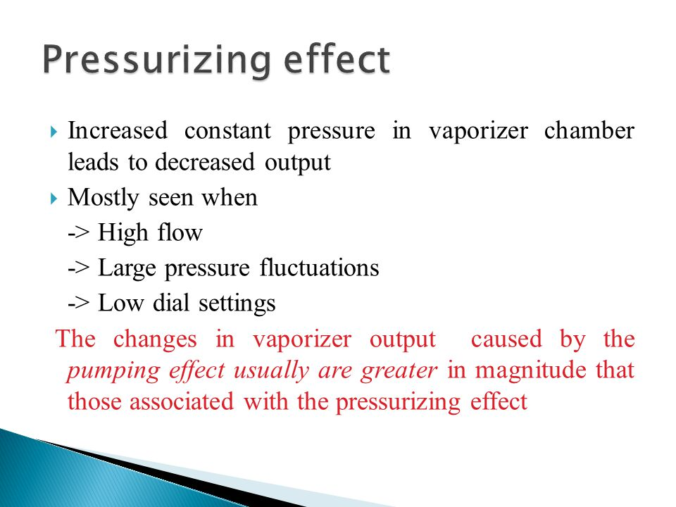Pressurizing effect Increased constant pressure in vaporizer chamber leads to decreased output. Mostly seen when.