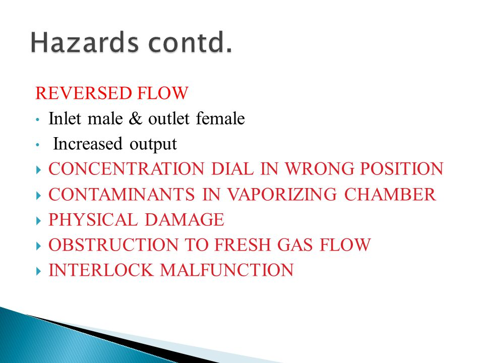 Hazards contd. REVERSED FLOW Inlet male & outlet female