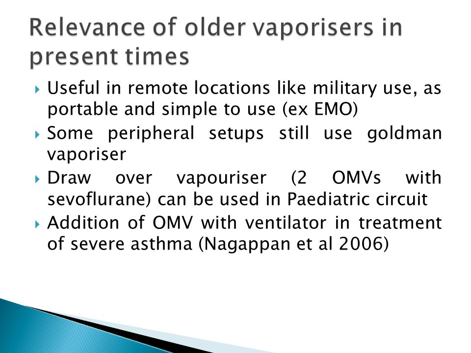 Relevance of older vaporisers in present times
