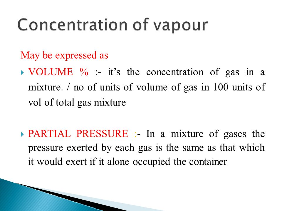 Concentration of vapour