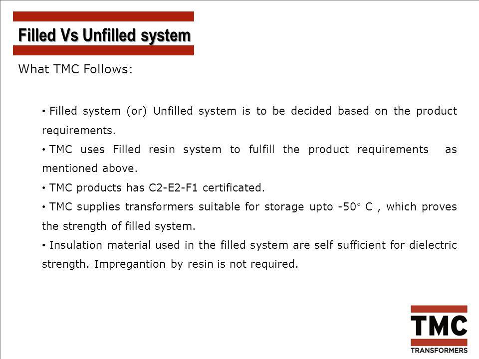 Filled Vs Unfilled system