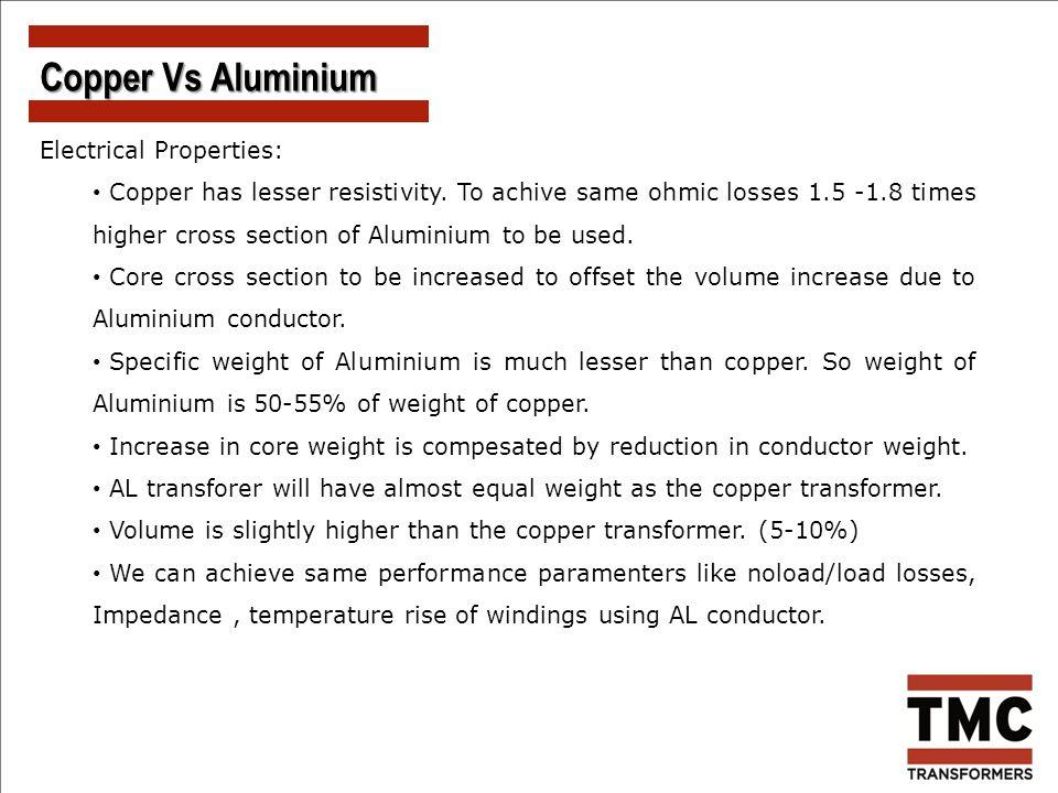 Copper Vs Aluminium Electrical Properties: