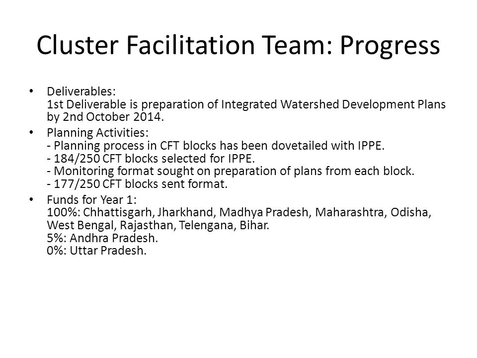 Cluster Facilitation Team: Progress