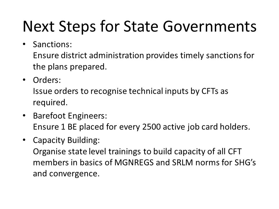 Next Steps for State Governments