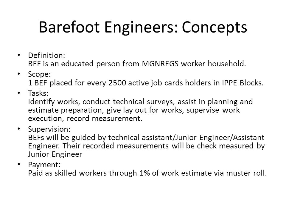 Barefoot Engineers: Concepts