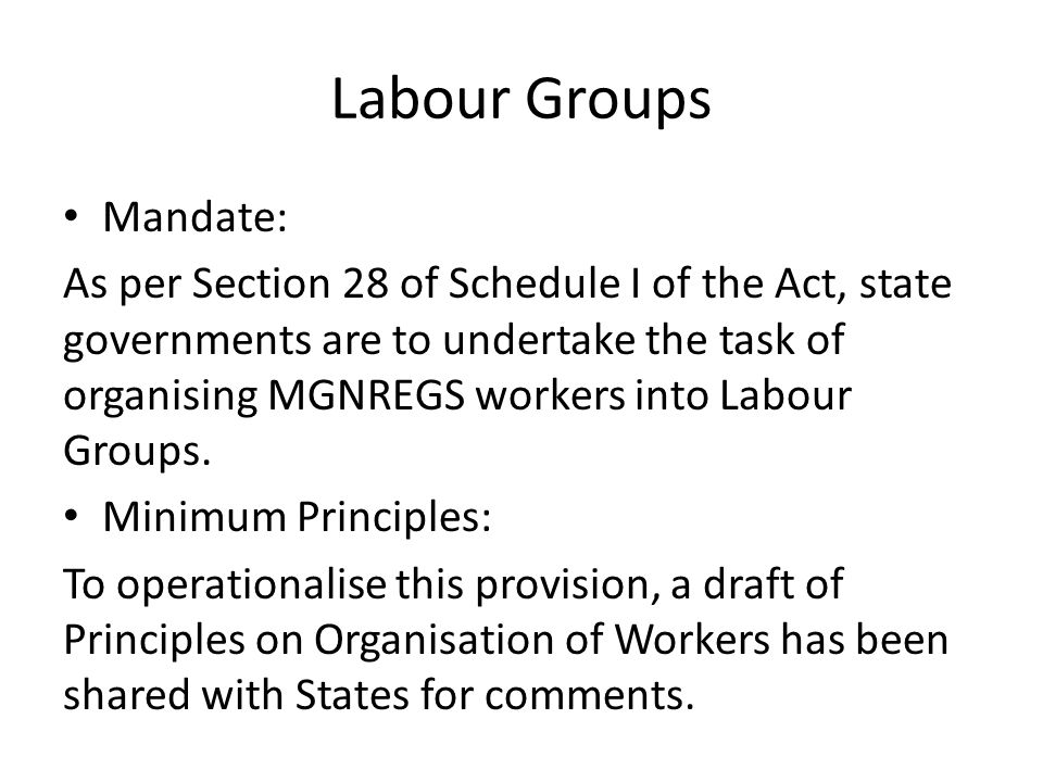 Labour Groups Mandate: