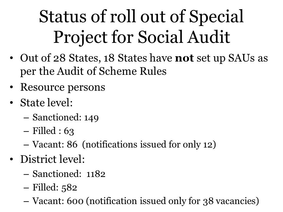 Status of roll out of Special Project for Social Audit
