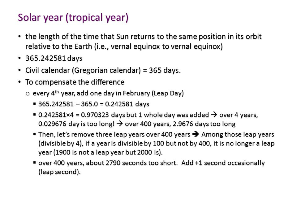Solar year (tropical year)
