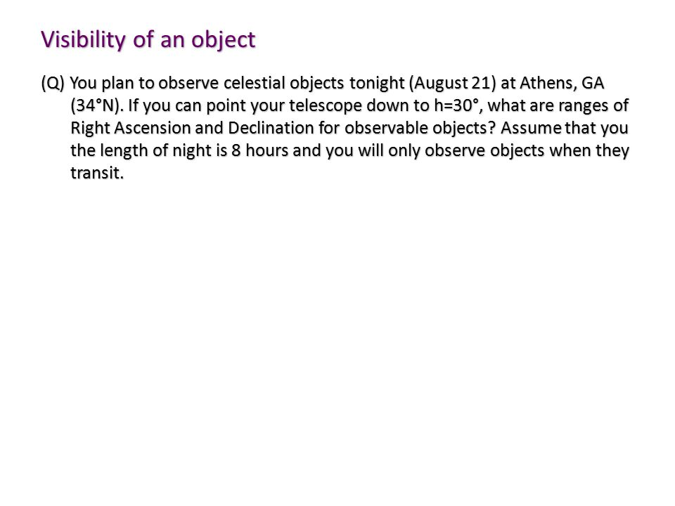 Visibility of an object