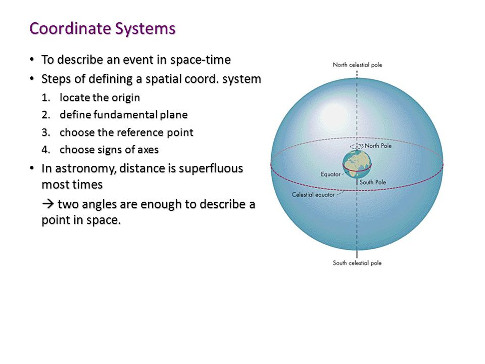 Coordinate Systems To describe an event in space-time