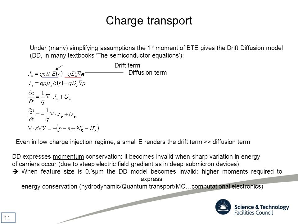 Charge transport Under (many) simplifying assumptions the 1st moment of BTE gives the Drift Diffusion model.