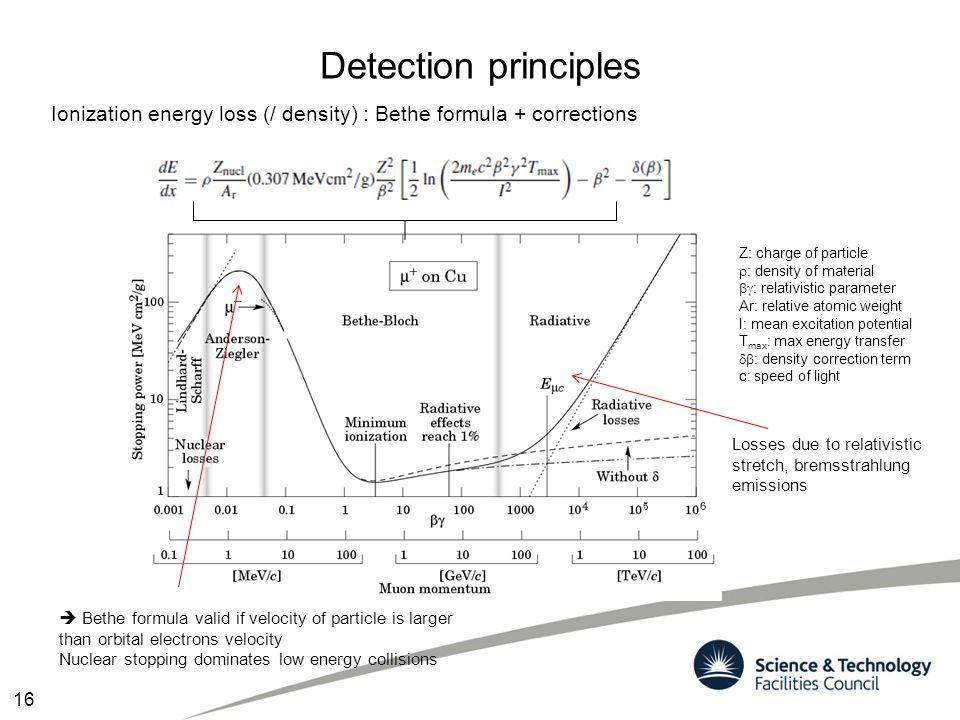 Detection principles Ionization energy loss (/ density) : Bethe formula + corrections.