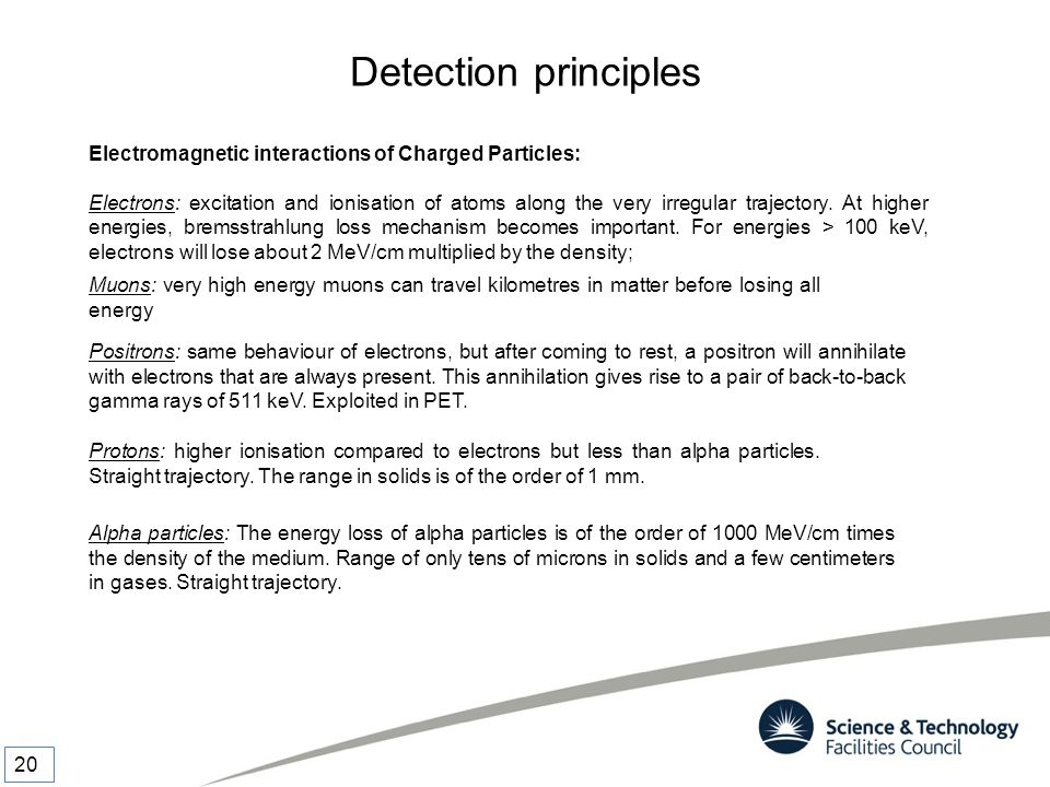 Detection principles Electromagnetic interactions of Charged Particles: