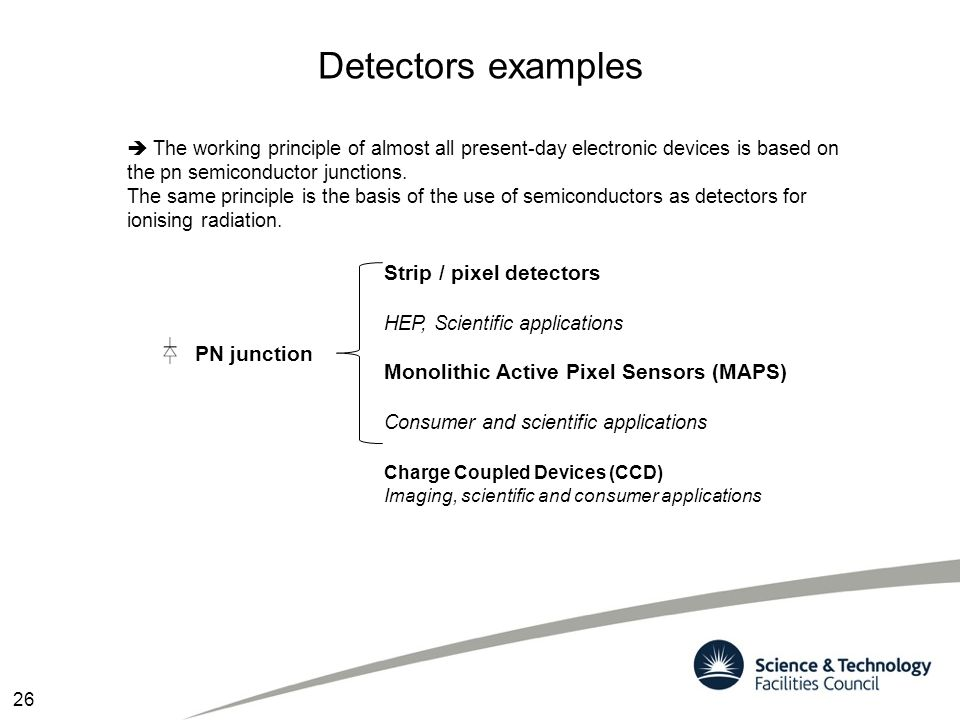Detectors examples Strip / pixel detectors