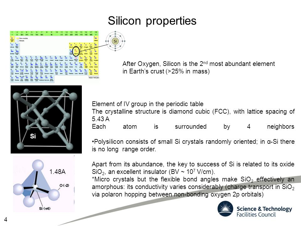 Silicon properties After Oxygen, Silicon is the 2nd most abundant element. in Earth's crust (>25% in mass)