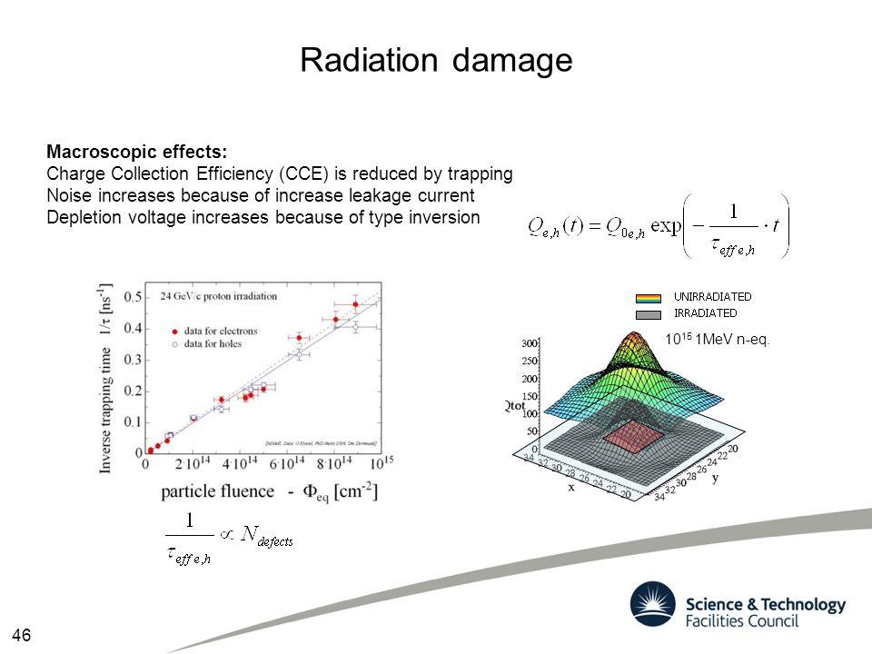 Radiation damage Macroscopic effects: