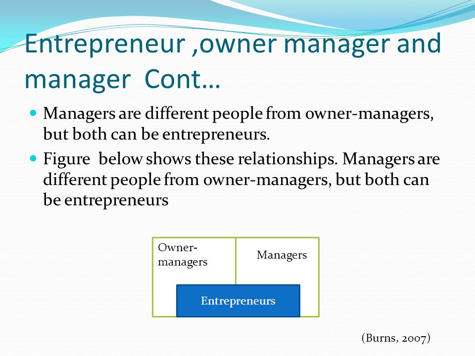 Entrepreneur ,owner manager and manager Cont…
