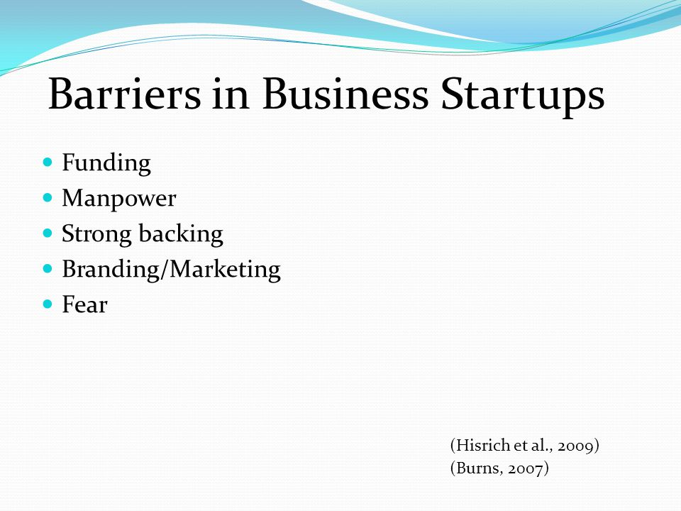 Barriers in Business Startups