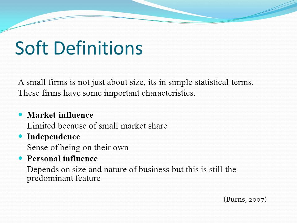 Soft Definitions A small firms is not just about size, its in simple statistical terms. These firms have some important characteristics: