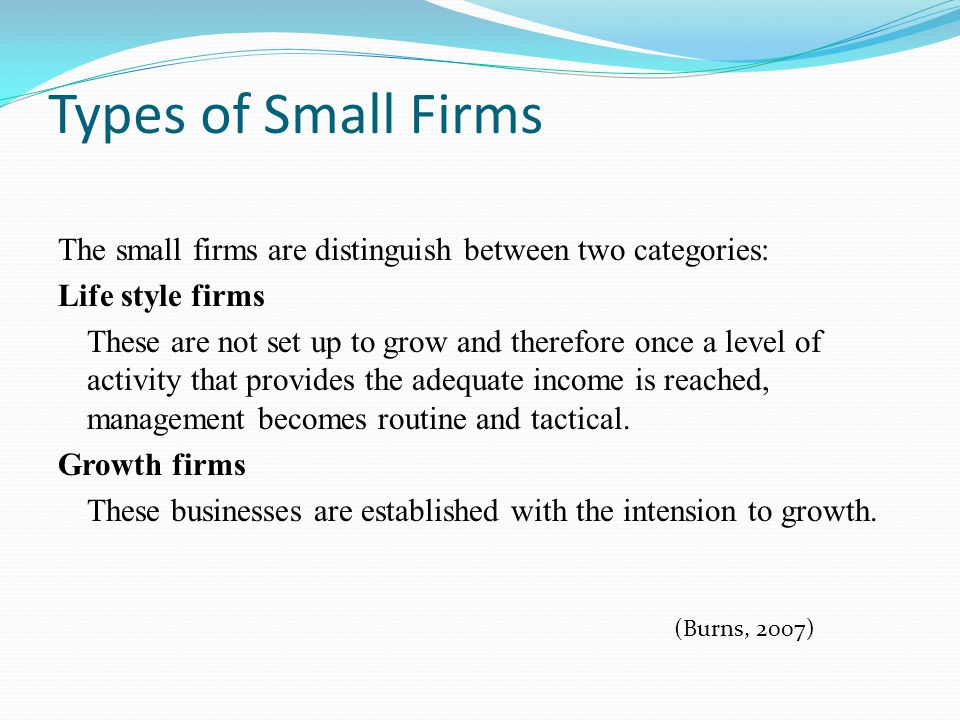 Types of Small Firms