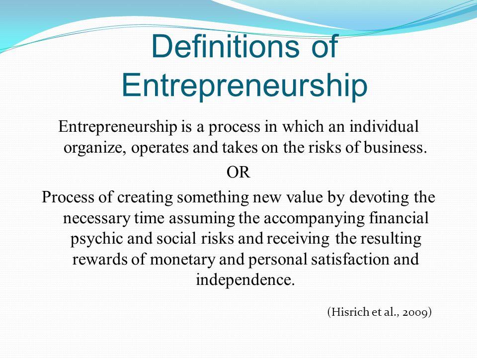 Definitions of Entrepreneurship