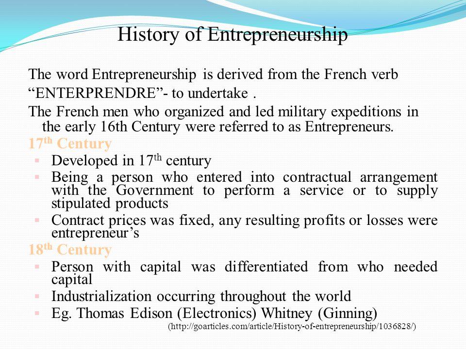 History of Entrepreneurship