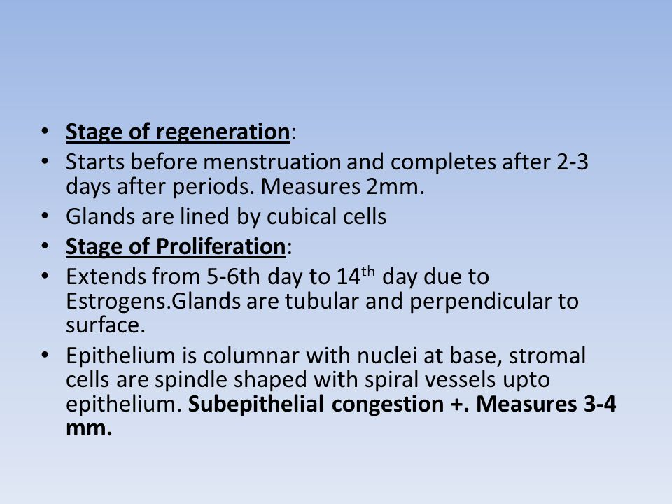 Stage of regeneration: