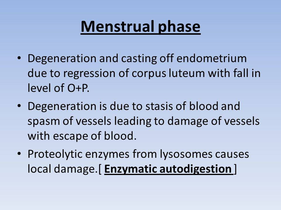 Menstrual phase Degeneration and casting off endometrium due to regression of corpus luteum with fall in level of O+P.