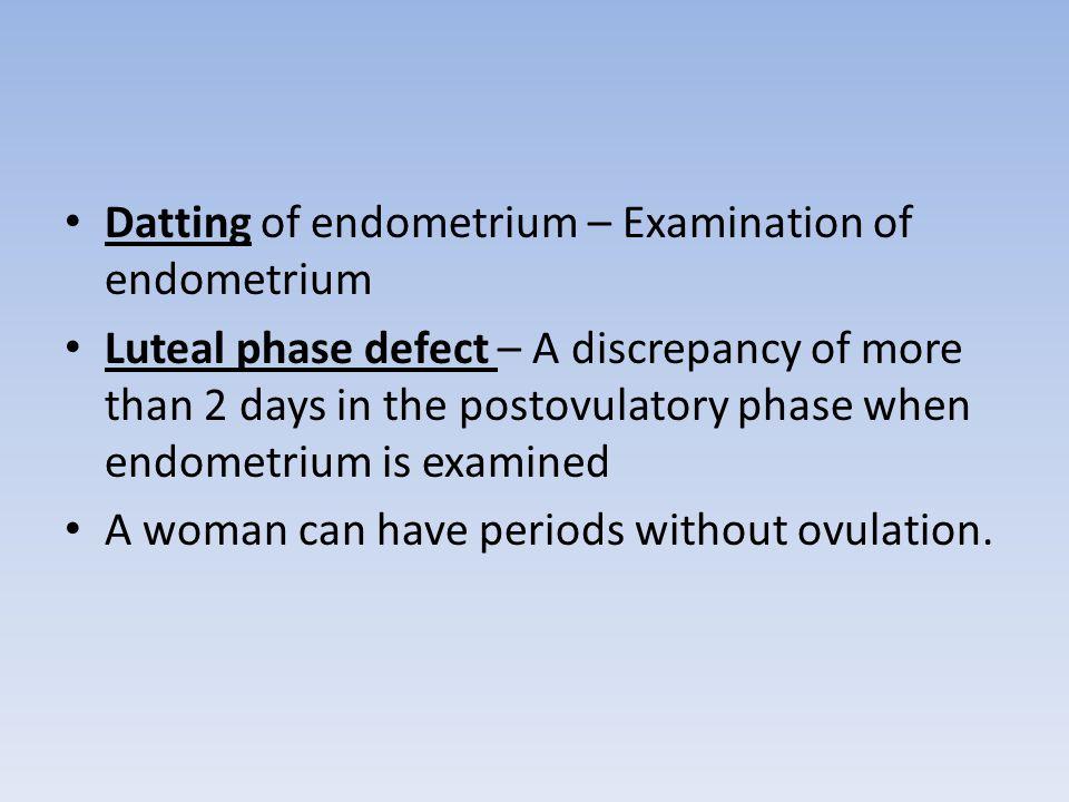 Datting of endometrium – Examination of endometrium