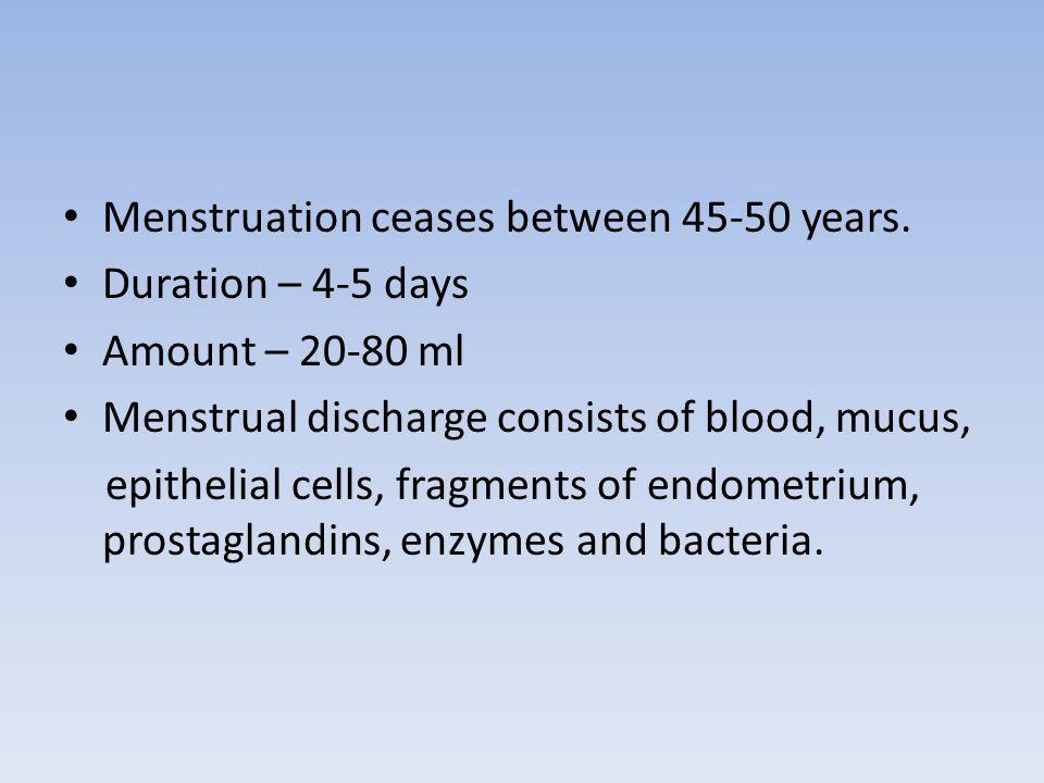 Menstruation ceases between 45-50 years.