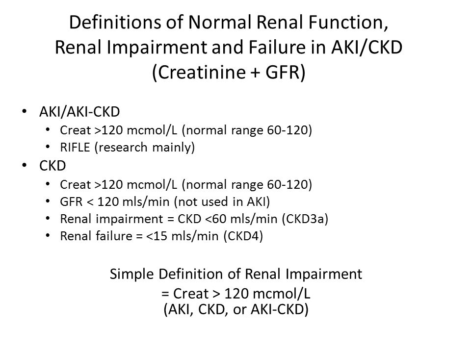 Definitions of Normal Renal Function, Renal Impairment and Failure in AKI/CKD (Creatinine + GFR)
