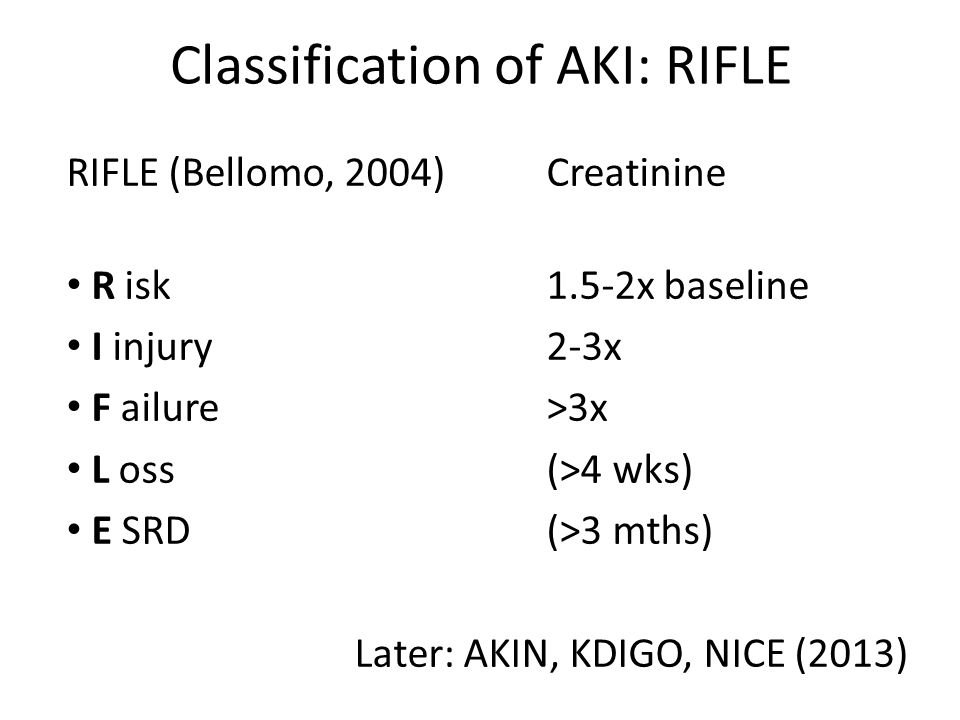 Classification of AKI: RIFLE