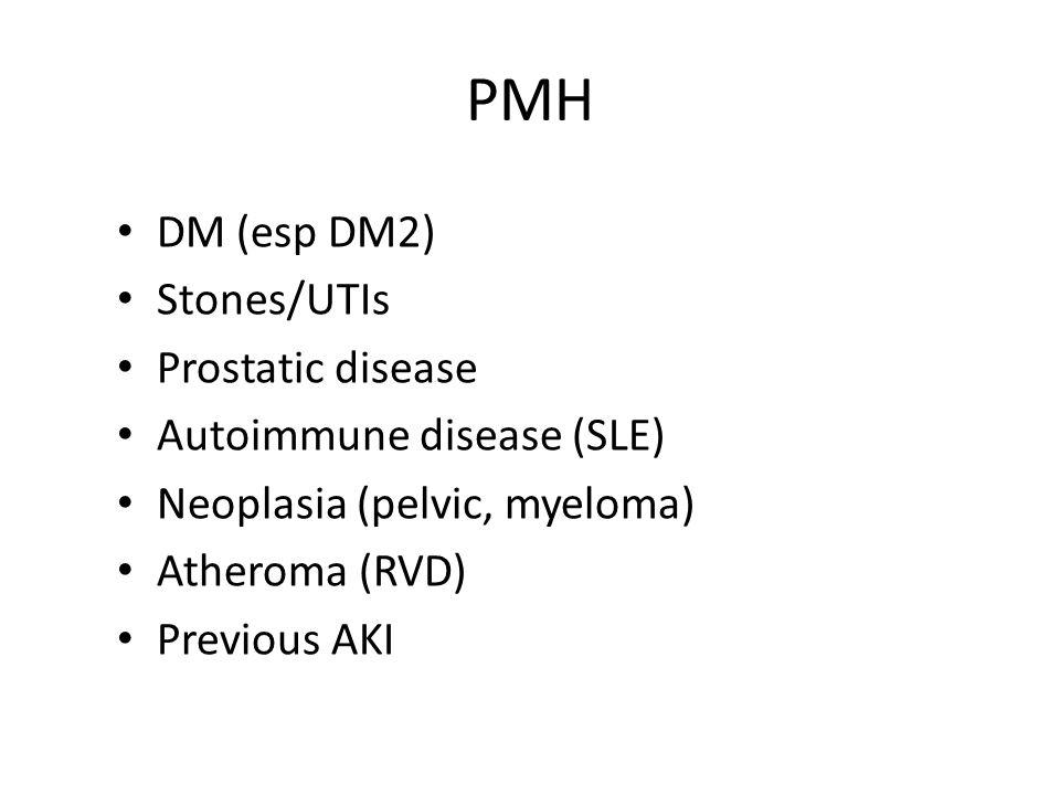 PMH DM (esp DM2) Stones/UTIs Prostatic disease
