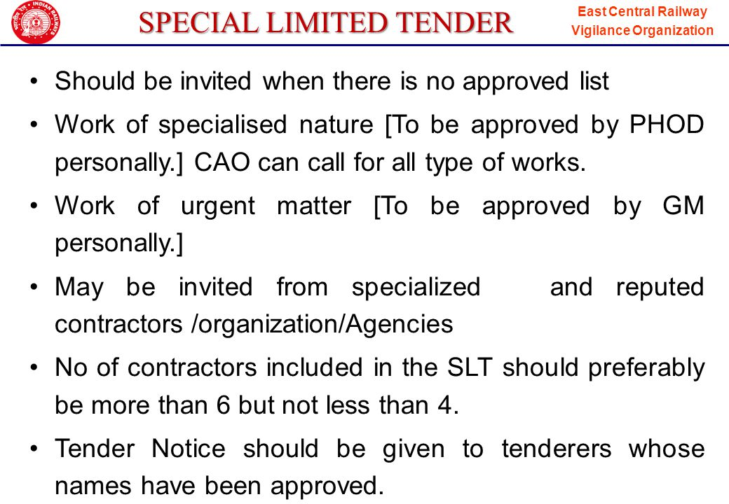 SPECIAL LIMITED TENDER