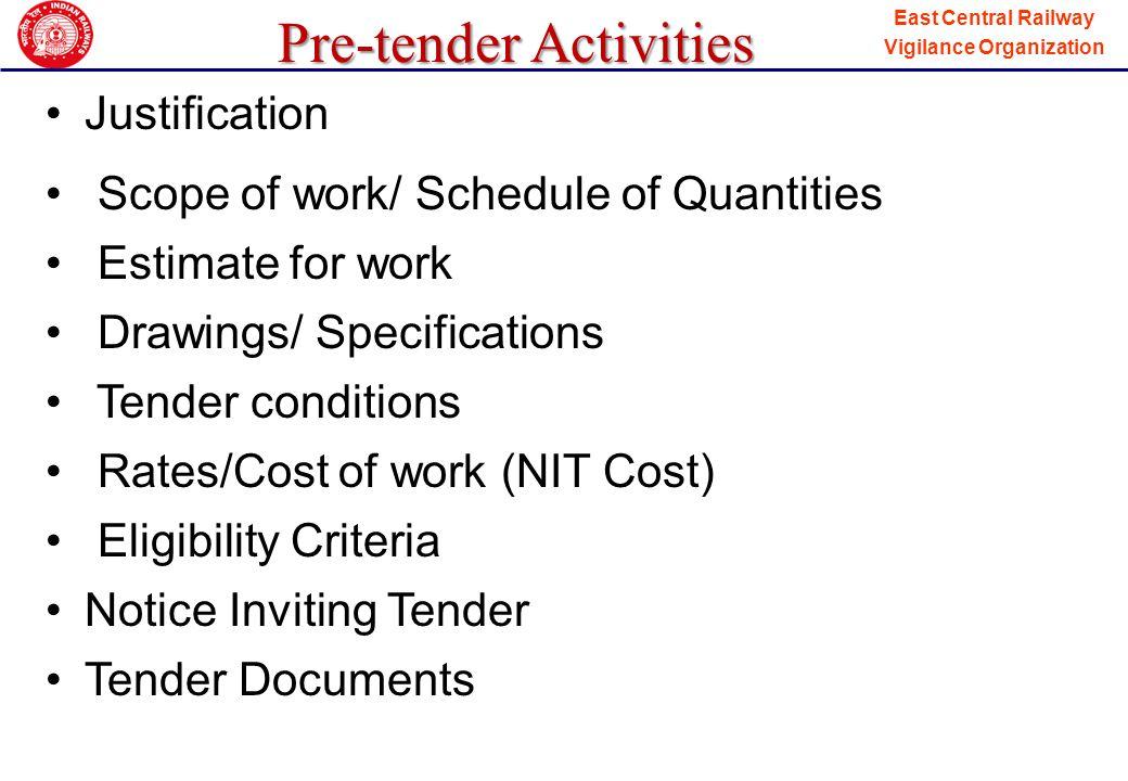 Pre-tender Activities