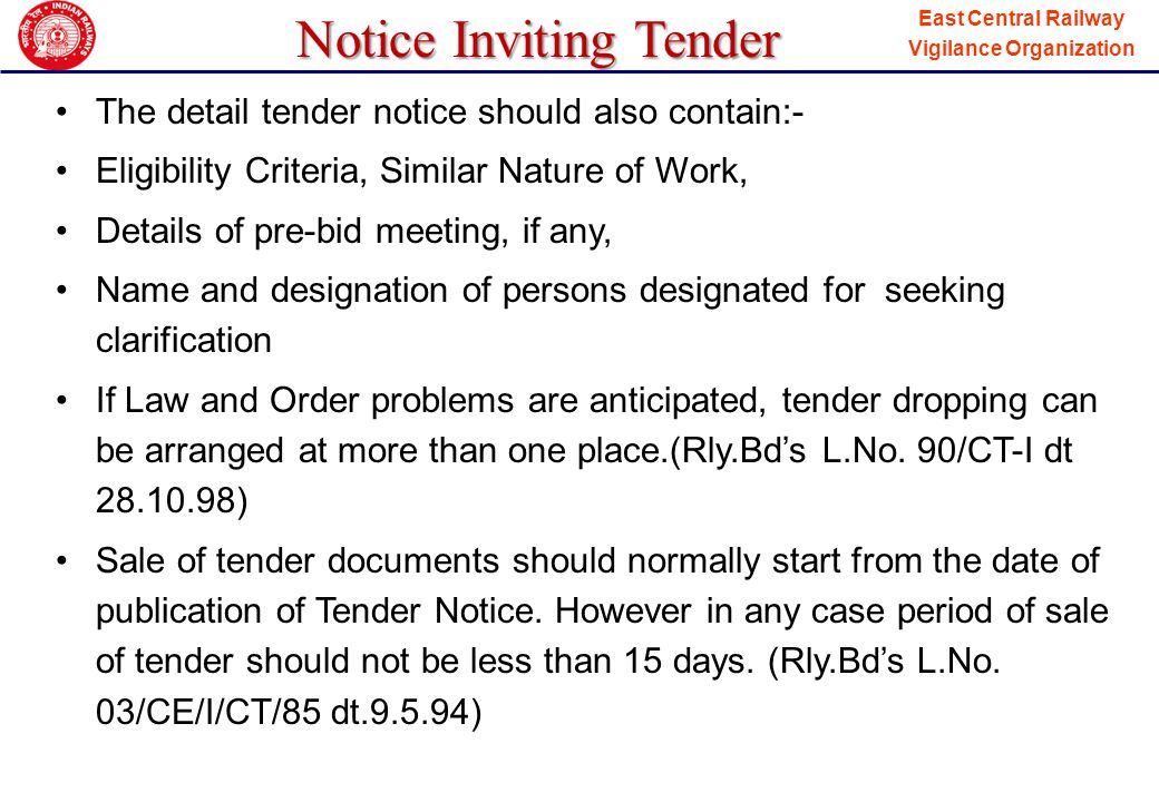 Notice Inviting Tender