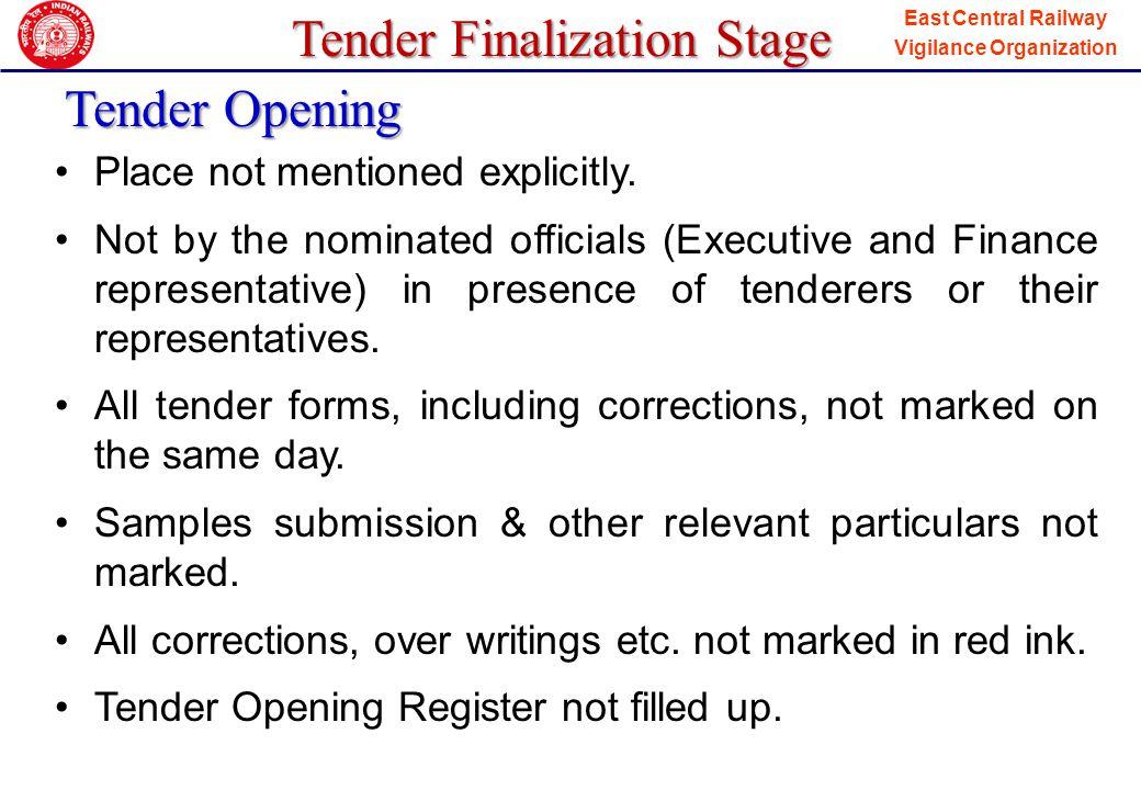 Tender Finalization Stage Tender Opening