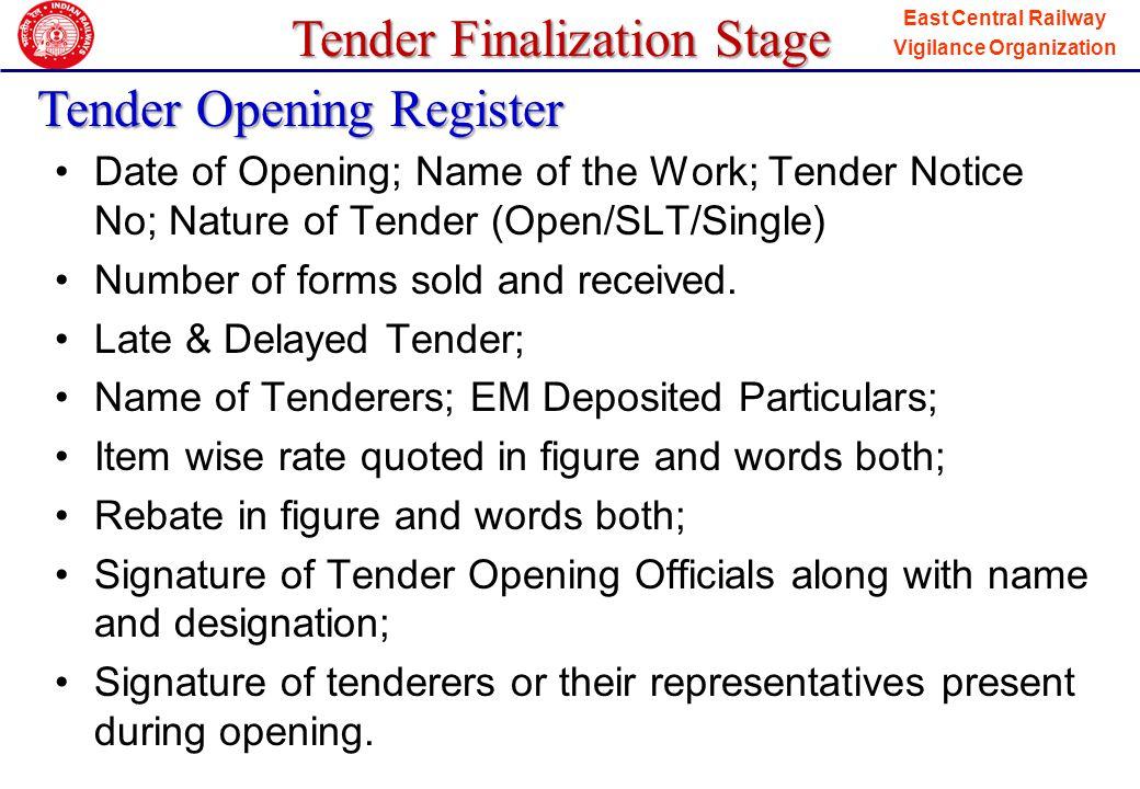 Tender Opening Register