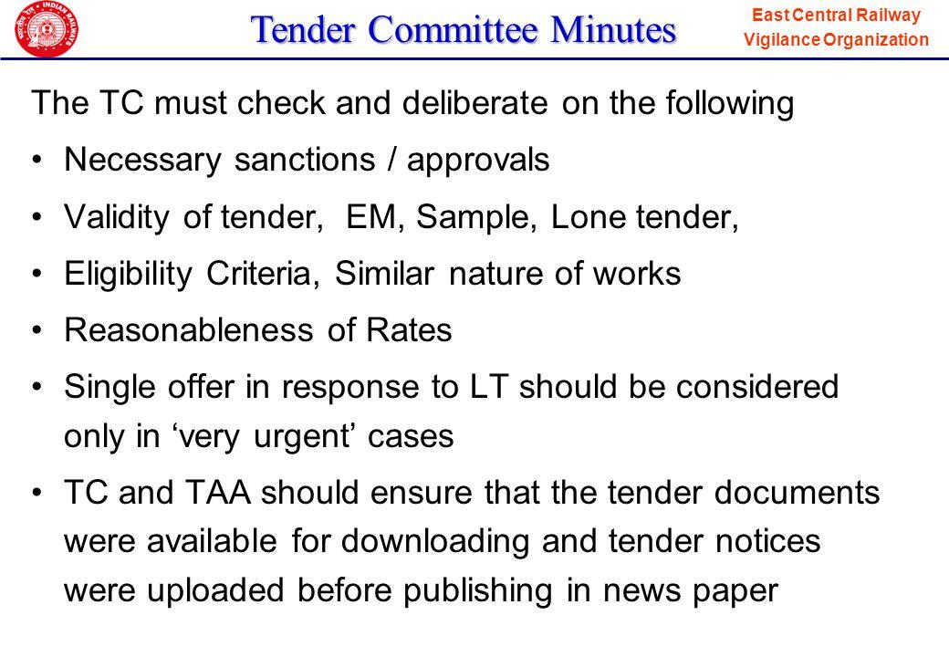 Tender Committee Minutes
