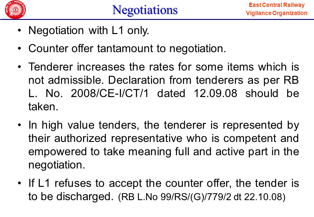 Negotiations Negotiation with L1 only.