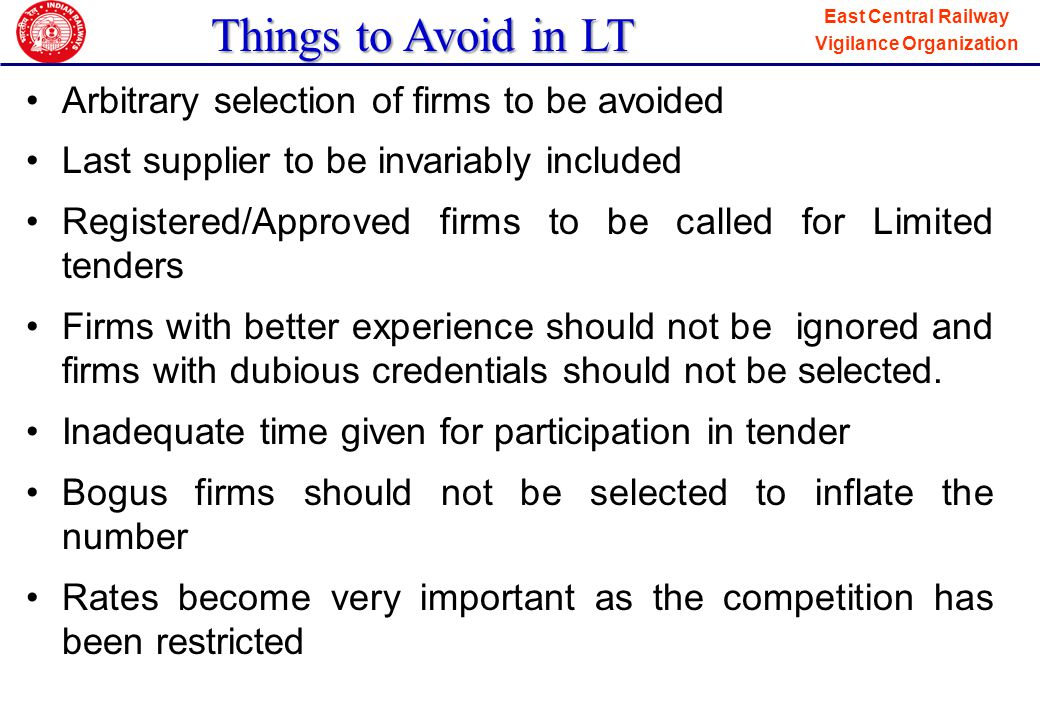 Things to Avoid in LT Arbitrary selection of firms to be avoided