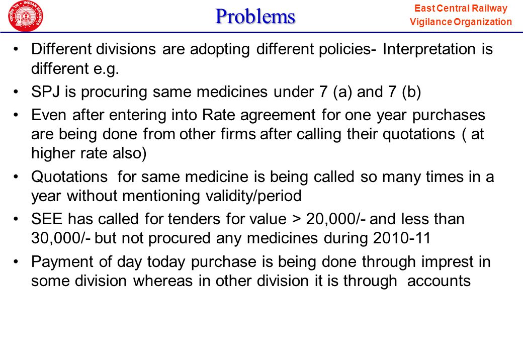 Problems Different divisions are adopting different policies- Interpretation is different e.g. SPJ is procuring same medicines under 7 (a) and 7 (b)