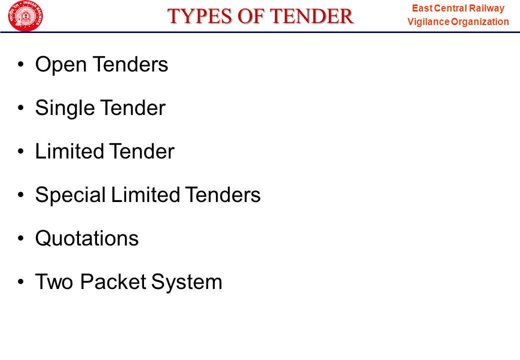 TYPES OF TENDER Open Tenders. Single Tender. Limited Tender. Special Limited Tenders. Quotations.