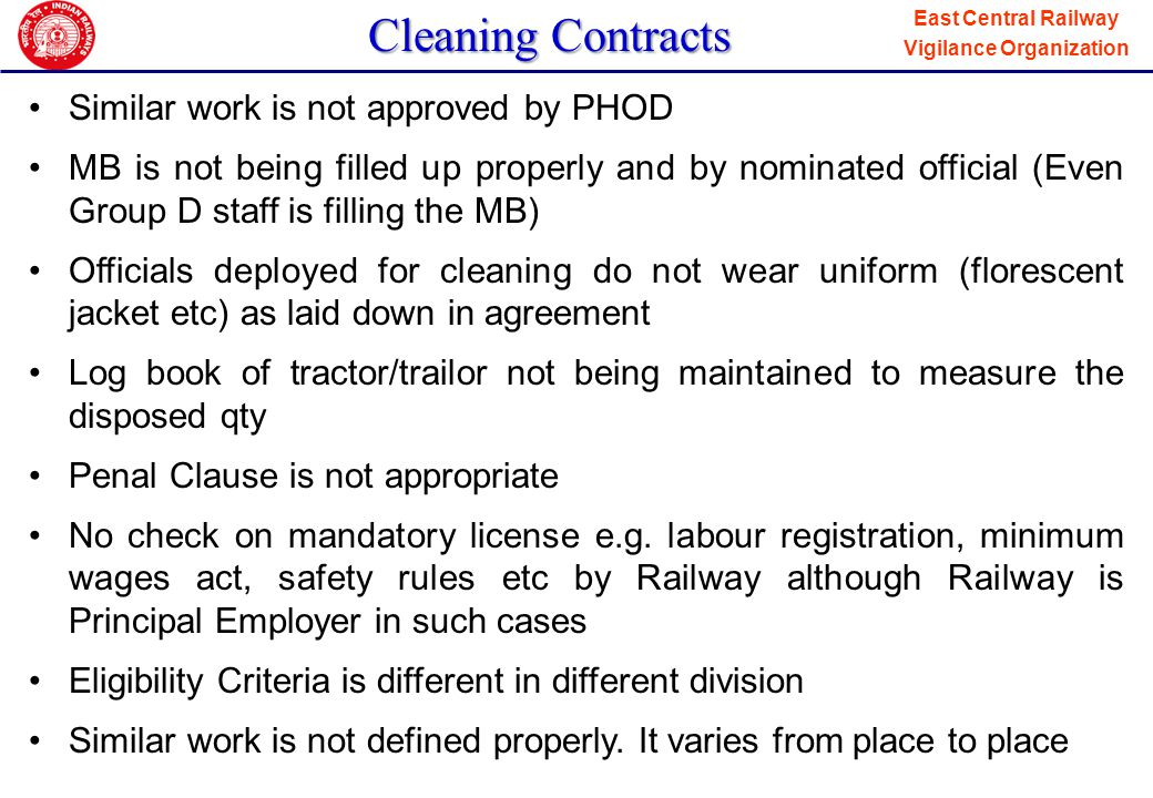Cleaning Contracts Similar work is not approved by PHOD