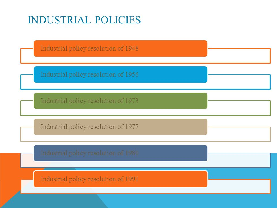 INDUSTRIAL POLICIES Industrial policy resolution of 1948