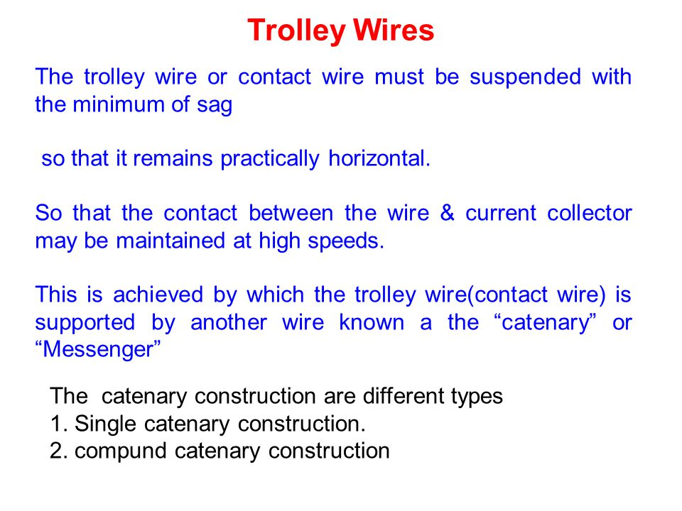 Trolley Wires The trolley wire or contact wire must be suspended with the minimum of sag. so that it remains practically horizontal.